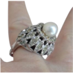 Simply Lovely, Sterling Silver, Majorca Pearl & Rhinestone Dome Ring by VENDOME