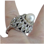 SALE Simply Lovely, Sterling Silver, Majorca Pearl & Rhinestone Dome Ring by VENDOME