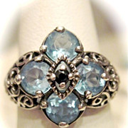 Borgias~Renaissance Women, Blue Topaz & Blue Sapphire Ring