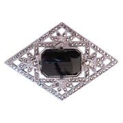 Lovely, Rhodium Plated, Black Onyx and Marcasite Pin/Brooch **Free Shipping