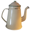 Vintage Enamelware G & M Coffee Pot Green Cream