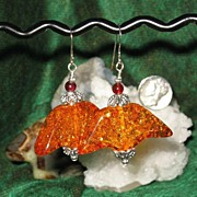 SALE Halloween! Amber Wings and Bali Beads Earrings
