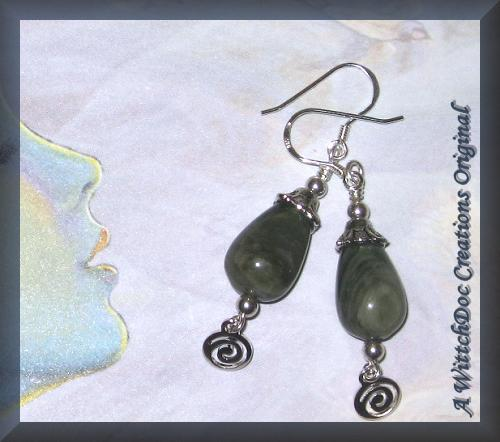 Brazilian Grey Agate Teardrops with Silver Spirals Earrings