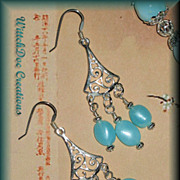 SALE Peruvian Blue Opal Chandelier Earrings in Sterling Silver