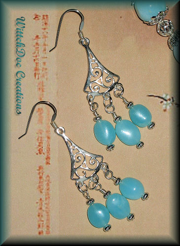 Peruvian Blue Opal Chandelier Earrings in Sterling Silver