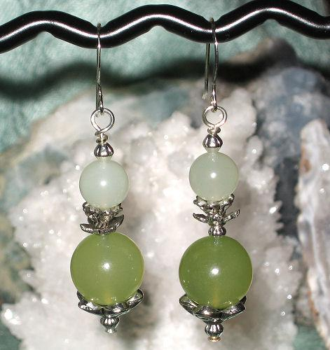 Green Mist Chalcedony Earrings Wicca Boho