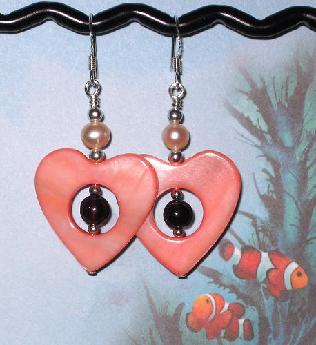 Garnet, Mother-of-Pearl Shell Hearts and Cultured Freshwater Pearl Earrings