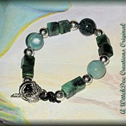 SALE PENDING Moss Agate and Nephrite Jade Bracelet 6 Inches
