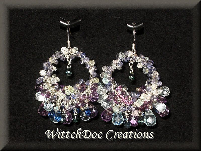 Multigemstone Earrings: Sapphire, Kyanite, Iolite, Beryl, Amethyst in Glorious Sterling Hoops