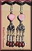 Rose Quartz, Freshwater Cultured Pearls and Mother of Pearl Hearts Chandelier Earrings