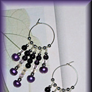 SALE Freshwater Pearl and Amethyst Hoop Chandelier Earrings
