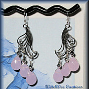 SALE Faceted Pink Chalcedony Sterling Silver Earrings