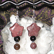 Rhodonite Stars with Pink and Black Tourmaline Earrings