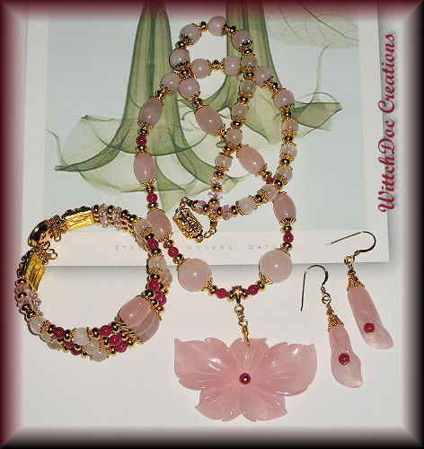 Rose Quartz, Ruby and Morganite Parure Necklace Bracelet Earrings in Gold Vermeil