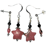 SALE 2 Pairs of Rhodonite Star and Black Onyx Earrings for Double-Pierced Ears