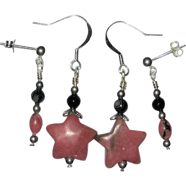 2 Pairs of Rhodonite Star and Black Onyx Earrings for Double-Pierced Ears