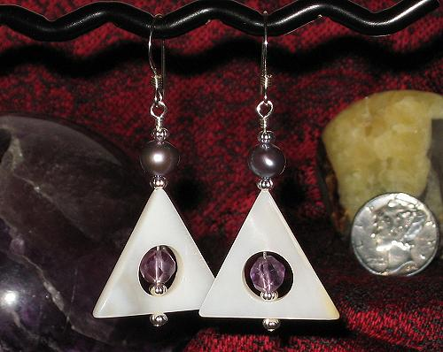 Faceted Amethyst, Freshwater Pearl and Shell Earrings