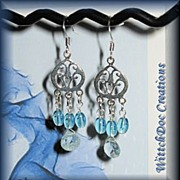 SALE Blue Topaz and Aquamarine Chandelier Earrings in Sterling Silver