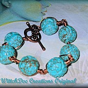 SALE Turquoise and Copper Spiral Sculpture Bracelet