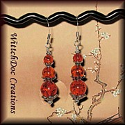 Triple Goddess Earrings in Cognac Amber