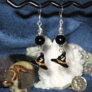 SALE Halloween SALE! Enameled Witch Hats with Black Tourmaline Spheres