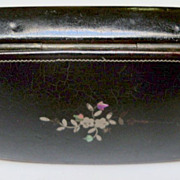 Paper Mache Snuff Box with Inlaid  MOP  Design