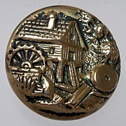 "Button Two Piece Brass ""Water Mill Scene"""