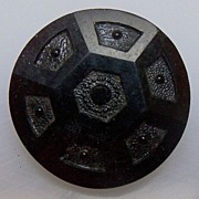 Button Large Black Glass with geometric design