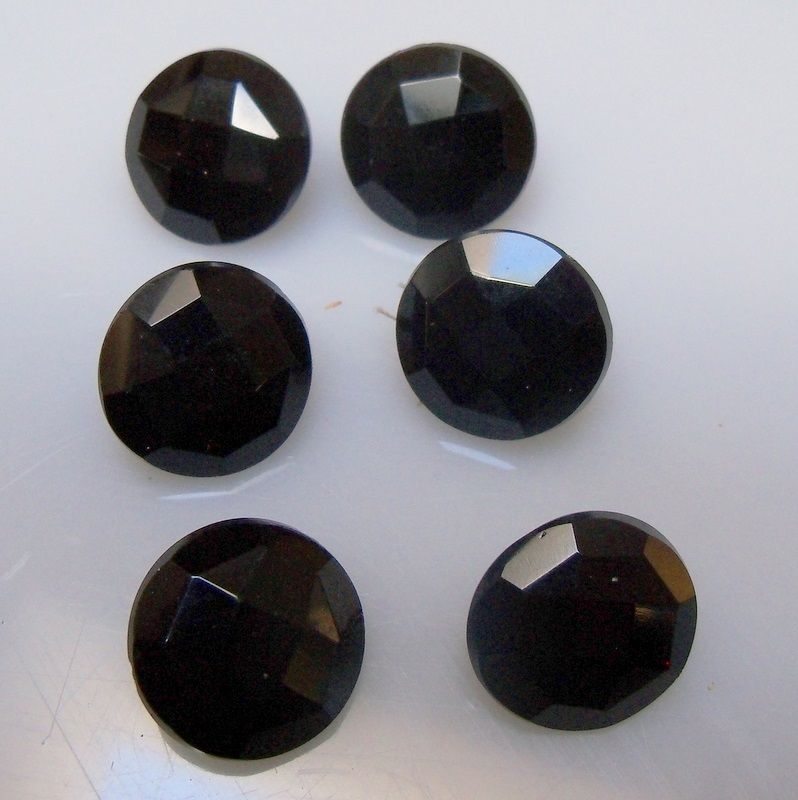 Five Black Glass Buttons