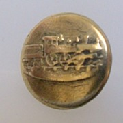 "Button Small Two Piece Brass ""Early Locomotive"""