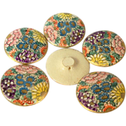 Set of Six Floral Satsuma Buttons