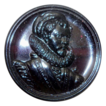 Dark Purple Glass Button &quot;Elizabethan Man&quot;