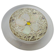 Extra Large Clear Acrylic Button with MOP Daisy Flower