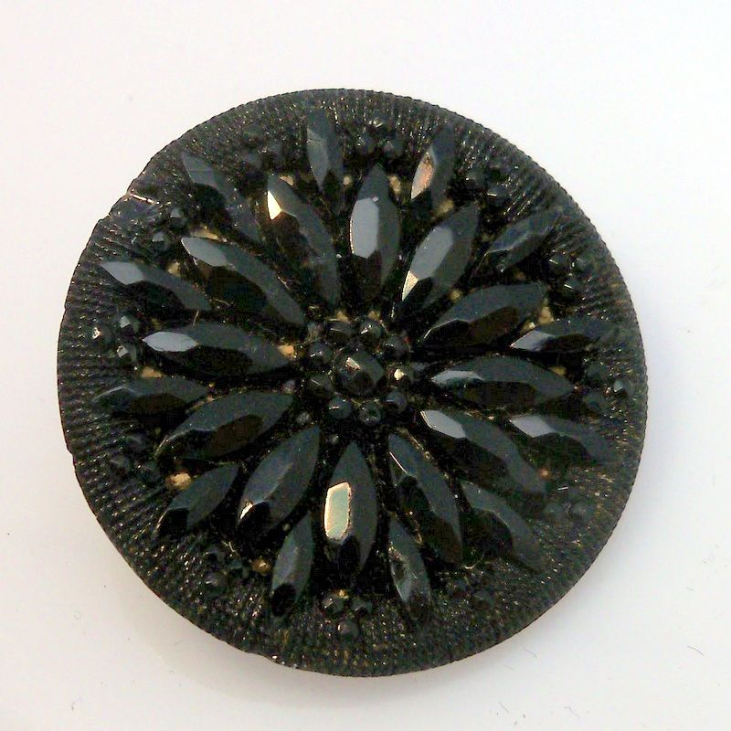 Black Glass Floral Design Button