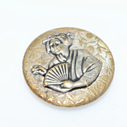 Brass Coated Geisha Girl  with Fan Button