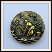 Unusual Scene Fisherwoman Shrimping Button