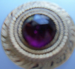 Gay 90's Button with large  Amethyst Glass Center Stone