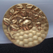 Elegant Convex Brass Button with Raised Rose