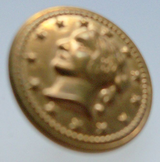 Tiny Gilt Button of Lady's Head Surrounded by Stars