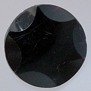 Button Black Glass with Raised Star Shape