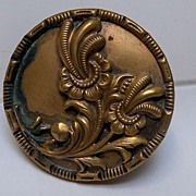Button Large Floral Spray  Brass Gilded Metal