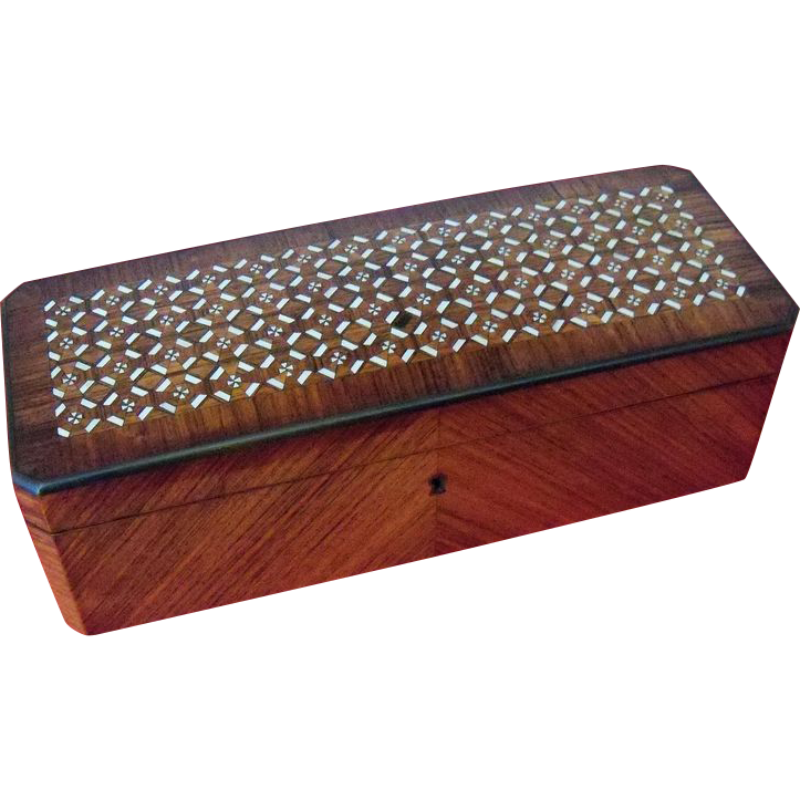 Intricate Wood and Mother of Pearl Inlay Walnut Box
