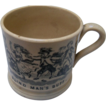 "Staffordshire Black Transfer Child's Mug ""Blind Man's Buff"""