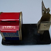 Made in Japan Tin Postal Mail Box and Scale  Desk Accessory