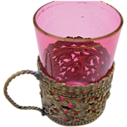 Miniature Cranberry Glass in Ornate Brass Holder