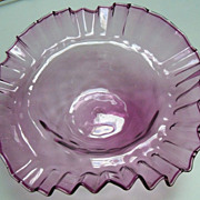 Amethyst Blown Shallow Glass Bowl with Crimped Edges