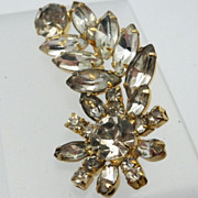 Clear Rhinestone Brooch Daisy Flower and Spray of Rhinestones