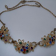 Multi Color Rhinestone Set in Gold Color Metal Necklace