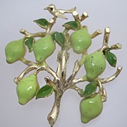 Figural Tree with Fruit and Bird Brooch