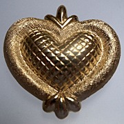 Figural Two Tone Gold Metal Heart Brooch
